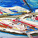 The picture with the boats 'Mixed Mediterranean' oil on canvas. Pictures. Multicolor Gallery. My Livemaster. Фото №5