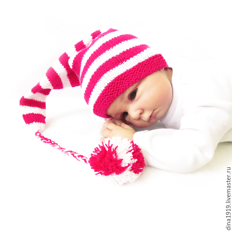 For Newborns handmade. Livemaster - handmade. Buy beanie for a photo shoot hat cap with pompom, pink, fuchsia.