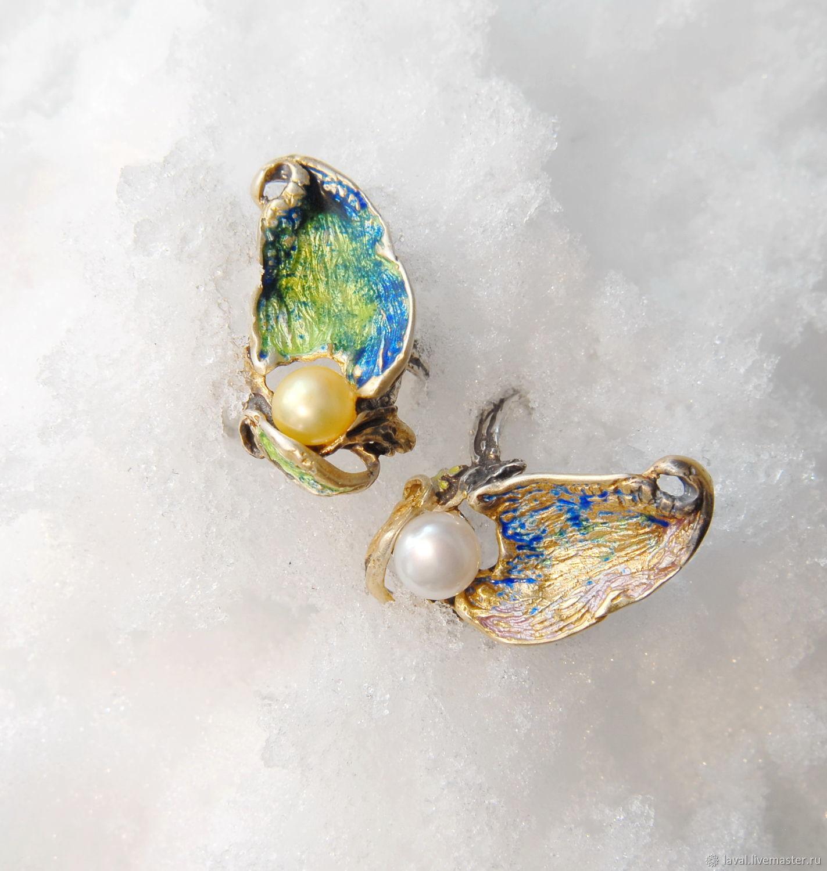 'Wave'-ring with pearls and hot enamel, Rings, Kurgan,  Фото №1