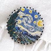 Украшения handmade. Livemaster - original item Embroidered brooch based on the painting