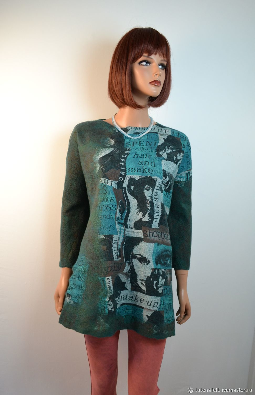 Felted wool tunic ' Ecriture  ', Sweatshirts, Mulhouse,  Фото №1