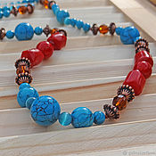 "Украшения handmade. Livemaster - original item Neclace ""Turqoise and red corall"". Handmade."
