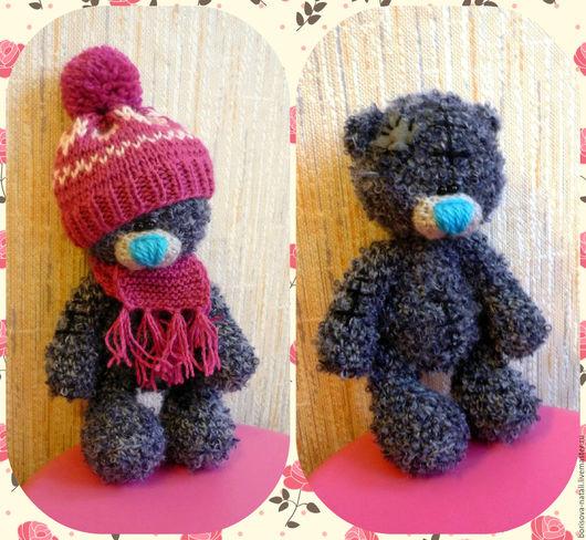 Мишки Тедди ручной работы. Ярмарка Мастеров - ручная работа. Купить мишка в шапочке. Handmade. Темно-серый, вязаная игрушка