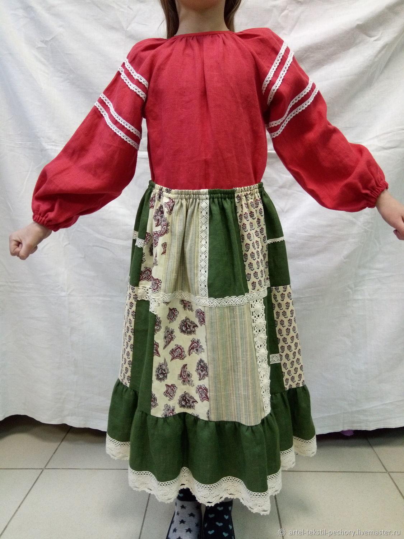 Льняная блузка красная