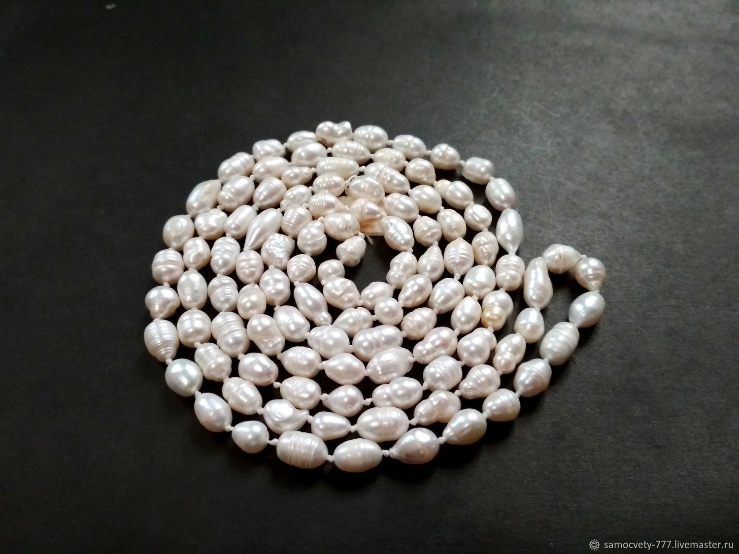 long necklace of natural pearls, 'pearl', Necklace, Feodosia,  Фото №1