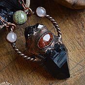 Медный кулон с морионом, гранатом, сердоликом и т.д., гальваника