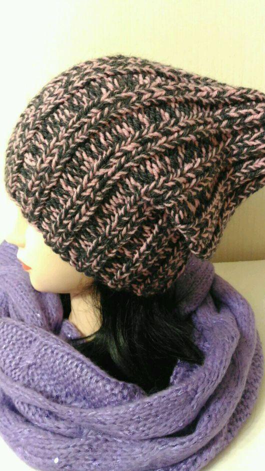 Шапки ручной работы. Ярмарка Мастеров - ручная работа. Купить Вязаная шерстяная серо-розовая  шапка бини. Handmade.