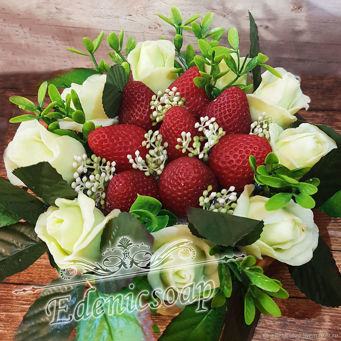 'Flawless beauty ' soap gift flowers strawberry bouquet, Soap, Moscow,  Фото №1