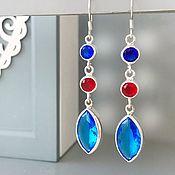 Украшения handmade. Livemaster - original item Long earrings with Blue Topaz - silver gems. Handmade.