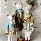 """Куклы и игрушки ручной работы. Ярмарка Мастеров - ручная работа Кошки """"Нет семьи дружней на свете"""". Handmade."""