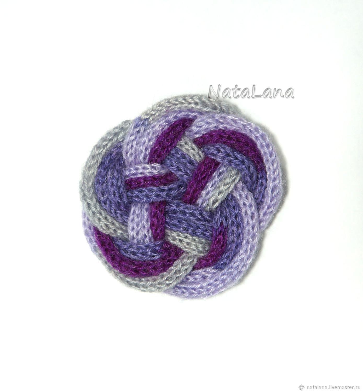 Брошь вязаная Виолетта, геометрическая форма. Подарок девушке, Брошь-булавка, Москва,  Фото №1
