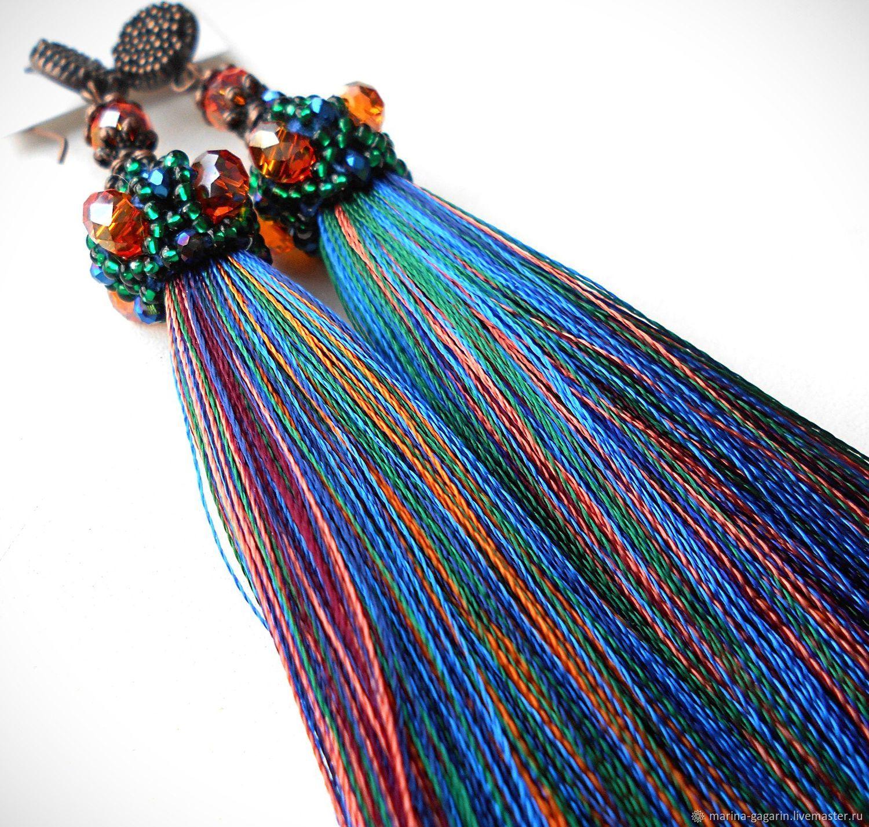 Earring Of The Brush 'Mix' Multi-Colored Orange Blue Green, Tassel earrings, Gagarin,  Фото №1