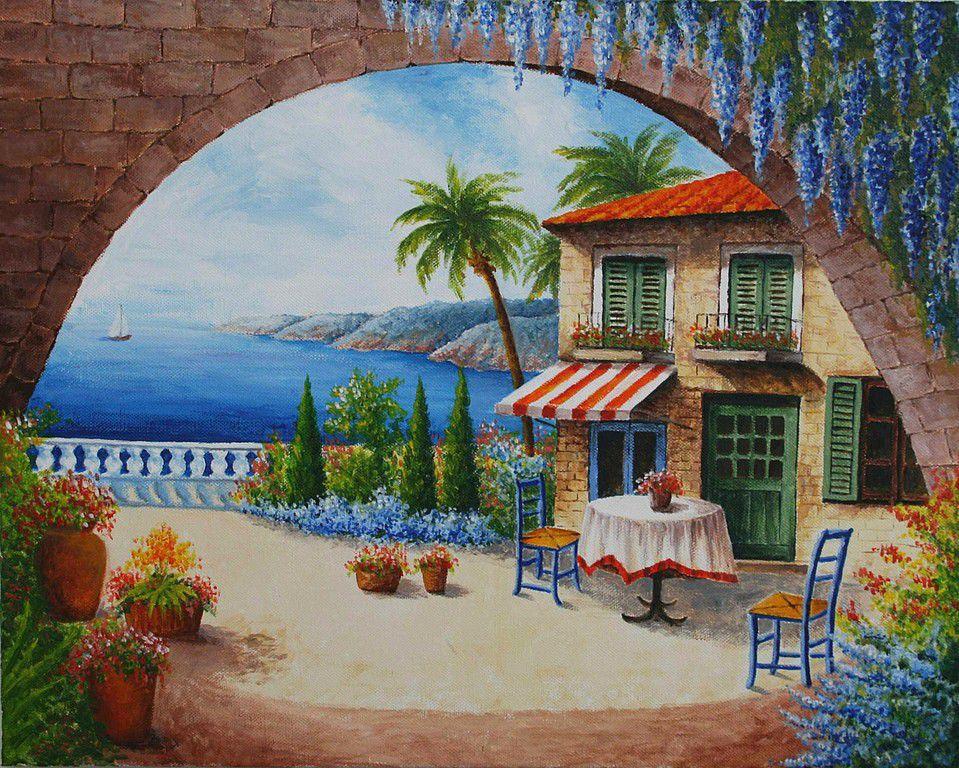Картина `Дом у Средиземного моря` (холст на подрамнике, акрил)