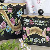 """Для дома и интерьера ручной работы. Ярмарка Мастеров - ручная работа Короба """"Друзья цветов"""". Handmade."""