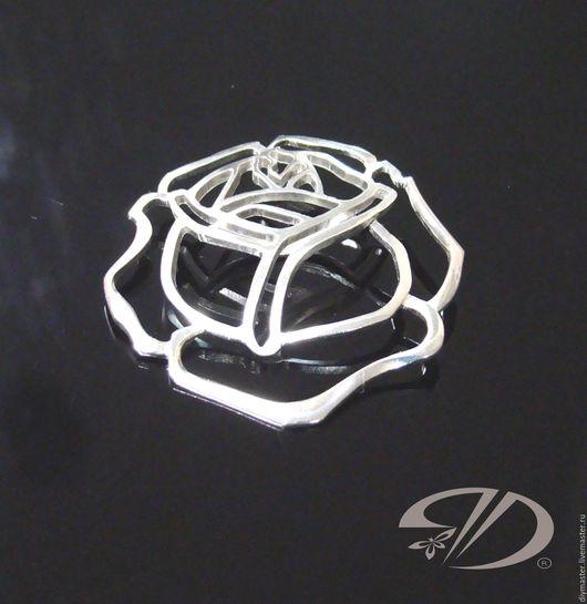 """Шитье ручной работы. Ярмарка Мастеров - ручная работа. Купить Пуговица-брошь  """"Роза"""". Handmade. Серебряный, бронзовая брошь, блеск"""