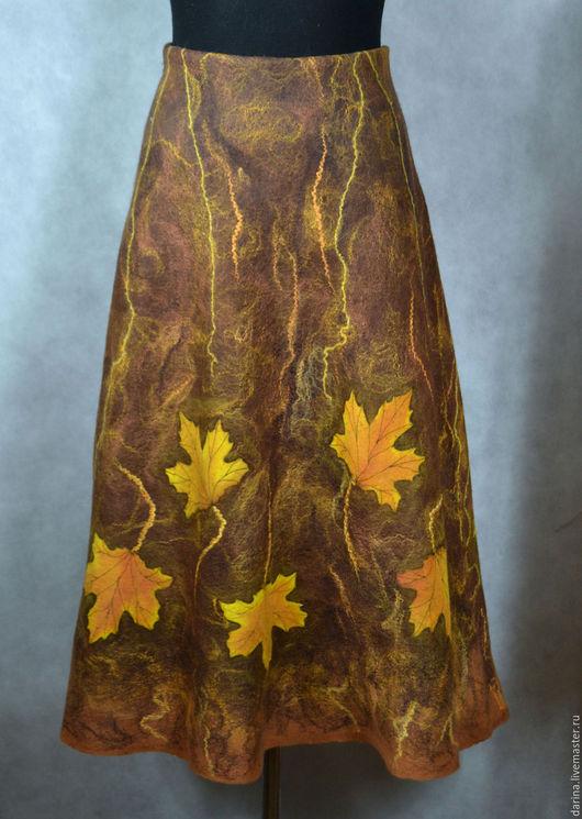 Юбки ручной работы. Ярмарка Мастеров - ручная работа. Купить юбка валяная с кленовыми листьями+безрукавка. Handmade. Коричневый, юбка валяная