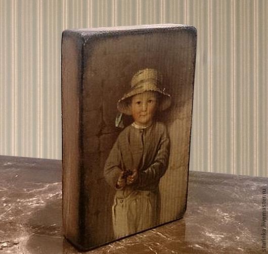 Репродукции ручной работы. Ярмарка Мастеров - ручная работа. Купить Панно на дереве Портрет мальчика Детские портреты. Handmade. Разноцветный