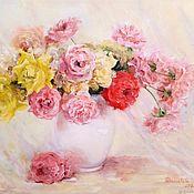 Картины и панно handmade. Livemaster - original item Oil painting still life with roses painting. Handmade.