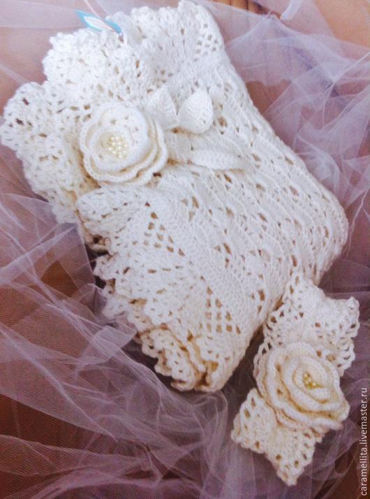 Пледы и одеяла ручной работы. Ярмарка Мастеров - ручная работа. Купить Плед для новорожденного Нежность розы  с повязкой. Handmade. Белый