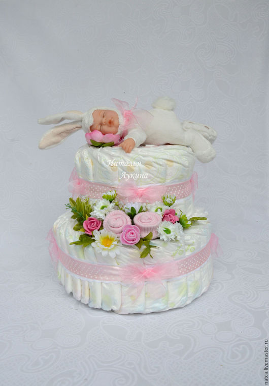 """Подарки для новорожденных, ручной работы. Ярмарка Мастеров - ручная работа. Купить Торт из памперсов  """"Зайкин сон в розовом"""". Handmade. Розовый"""