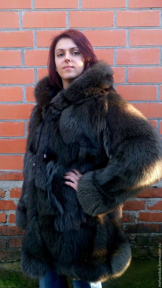 """Верхняя одежда ручной работы. Ярмарка Мастеров - ручная работа. Купить Женская меховая шуба с капюшоном  """"Хаки"""", купить шубу, шубка. Handmade."""