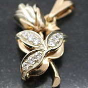 "Подвеска ручной работы. Ярмарка Мастеров - ручная работа Кулон ""Роза"" золото с бриллиантами. Handmade."