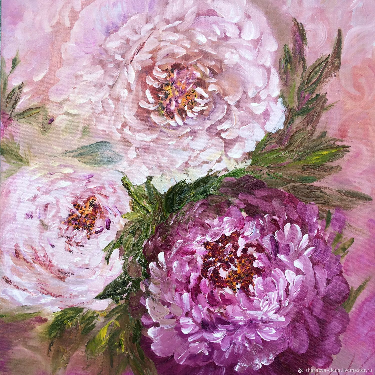 Oil painting Three peonies in pink, Pictures, Kaliningrad,  Фото №1