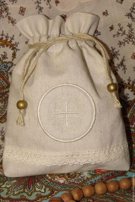 Текстиль, ковры ручной работы. Ярмарка Мастеров - ручная работа. Купить Мешочек для просфор серый лён - подарок на Рождество. Handmade.