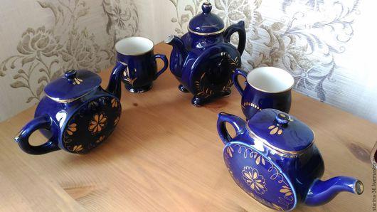 Винтажная посуда. Ярмарка Мастеров - ручная работа. Купить Набор  чайный. Гжель СССР. Handmade. Тёмно-синий, фарфор