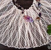 Материалы для творчества ручной работы. Ярмарка Мастеров - ручная работа Кружево 434 вышивка на сетке, кружево с вышивкой. Handmade.