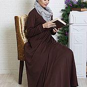 """Одежда ручной работы. Ярмарка Мастеров - ручная работа Длинное коричневое платье М-541 """"Муза"""". Handmade."""