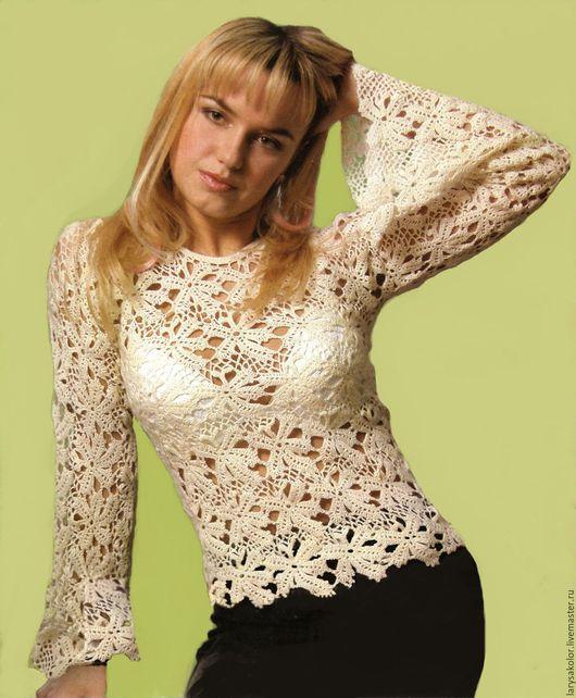 """Кофты и свитера ручной работы. Ярмарка Мастеров - ручная работа. Купить Пуловер""""Птичье молоко"""". Handmade. Белый, пуловер вязаный"""