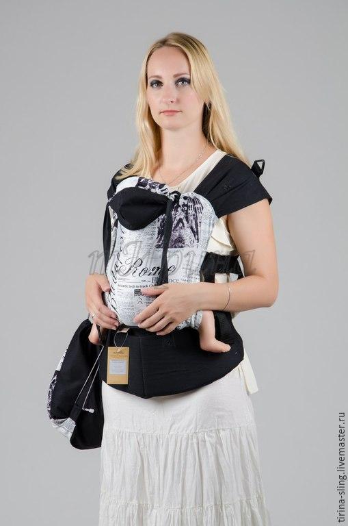 `Парижская пресса`  Рюкзак выполнен  хлопка. Предназначен для переноски детей от 4-6 месяцев до 2-3 лет. Уплотненный пояс  с холлофайбером отлично снимает нагрузку со спины н
