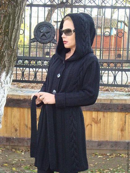 Верхняя одежда ручной работы. Пальто- кардиган с капюшоном. Светлана Волкодав. Ярмарка Мастеров. Кардиган вязаный, спицы