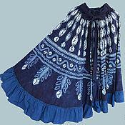 Одежда ручной работы. Ярмарка Мастеров - ручная работа Длинная синяя юбка-солнце в стиле бохо. Handmade.
