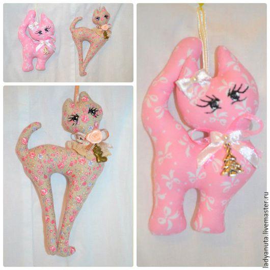 Куклы Тильды ручной работы. Ярмарка Мастеров - ручная работа. Купить милые котики. Handmade. Бледно-розовый, украшение для интерьера