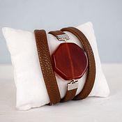 Фен-шуй и эзотерика handmade. Livemaster - original item Bracelet for Leo Aries, Taurus, Cancer gray-red leather. Handmade.