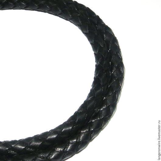Для украшений ручной работы. Ярмарка Мастеров - ручная работа. Купить Шнур кожаный плетеный 7,0 мм. Цвет - черный. Handmade.