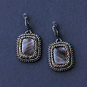handmade. Livemaster - original item Rectangular earrings with obsidian. Handmade.