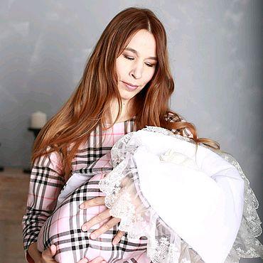 Одежда ручной работы. Ярмарка Мастеров - ручная работа Платье для мамы и конверт для малыша. Handmade.