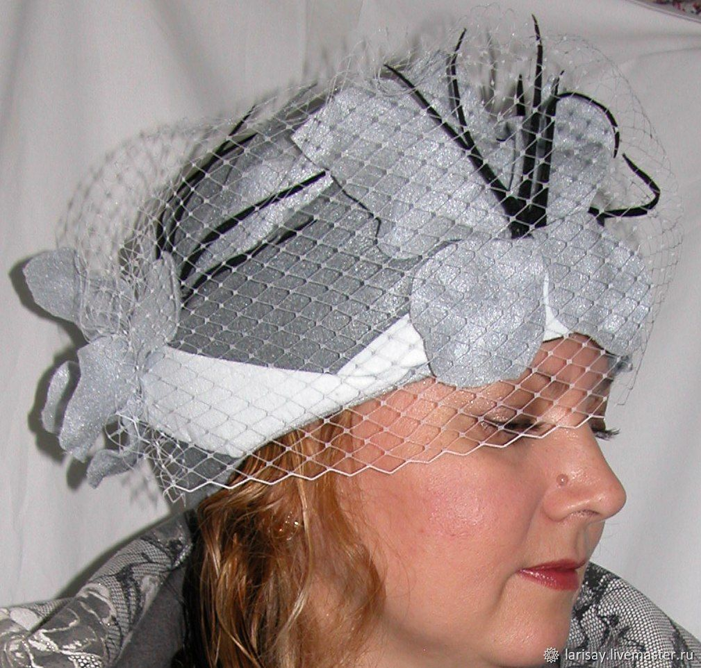 Hat felt women's grey shades with veil, Hats1, Novosibirsk,  Фото №1