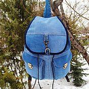 handmade. Livemaster - original item Denim Backpack Portfolio. Handmade.