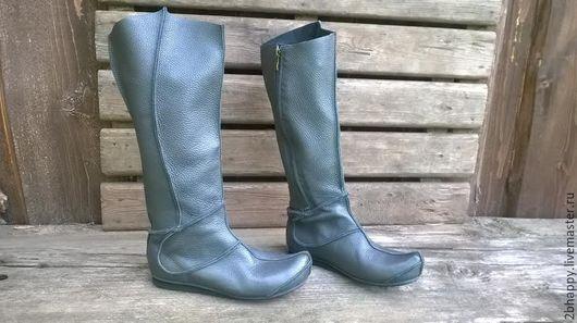Обувь ручной работы. Ярмарка Мастеров - ручная работа. Купить Высокие кожаные сапоги КАЙЯ. Handmade. Темно-серый