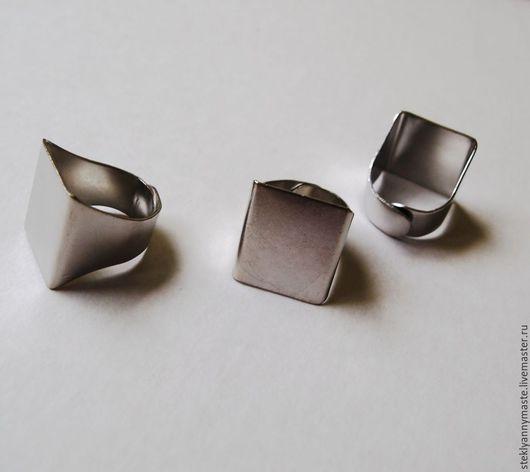 Для украшений ручной работы. Ярмарка Мастеров - ручная работа. Купить основа для кольца квадратная, металлическая, тиффани, фьюзинг, глина,. Handmade.