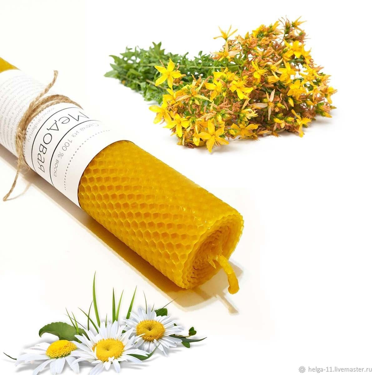 honey candle-chamomile and st. john's wort, Candles, St. Petersburg,  Фото №1