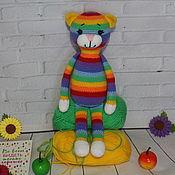 handmade. Livemaster - original item Knitted toy rainbow cat. Bright souvenir. Unusual gift.. Handmade.