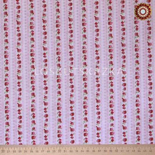 Ткань для пэчворка `Цветочная дорожка красный`. Хлопок 100%. DFS-00128