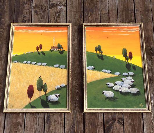 """Животные ручной работы. Ярмарка Мастеров - ручная работа. Купить картина """"Овечки"""". Handmade. Картина в подарок, пазбище, акриловые краски"""