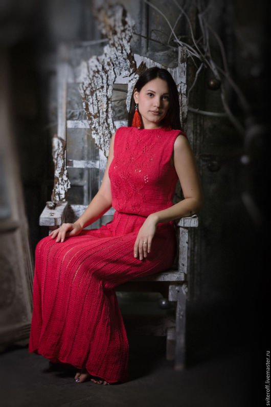 Вязаное авторское коралловое платье ручной работы `CORAL` от Sviteroff