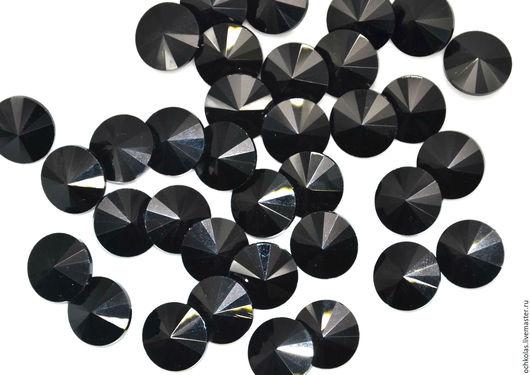 Для украшений ручной работы. Ярмарка Мастеров - ручная работа. Купить Риволи 8 мм черный. Handmade. Черный, Бисероплетение